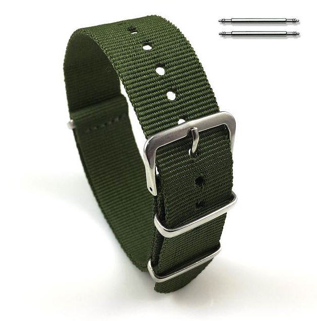 Military Green One Piece Slip Through Nylon Watch Band Strap Silver Buckle #6006
