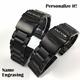 Black Stainless Steel Links Bracelet Replacement Watch Band Strap Double Clasp #5002