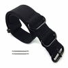 Nautica Compatible 5 Ring Ballistic Army Military Black Nylon Replacement Watch Band Strap PVD #3014