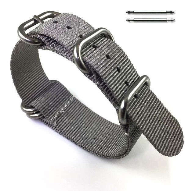 Nautica Compatible 5 Ring Ballistic Army Military Grey Nylon Fabric Replacement Watch Band Strap #3011