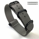 Nautica Compatible 5 Ring Ballistic Army Military Grey Nylon Replacement Watch Band Strap PVD #3012