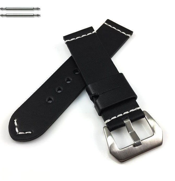 Nautica Compatible Black Leather Replacement Watch Band Strap Brushed Steel Buckle White Stitching #1101