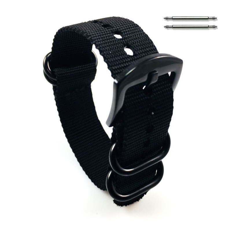 Nautica Compatible Black One Piece Slip Through Nylon Watch Band Army Military Black Buckle #6022