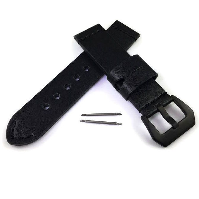 Nautica Compatible Black Premium Genuine Replacement Leather Watch Band Strap Steel Buckle #1001