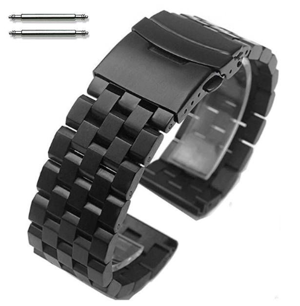 Nautica Compatible Black PVD SS Steel Metal Watch Band Strap Bracelet Double Locking Buckle #5052