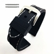 Nautica Compatible Black Rubber Silicone PU Replacement Watch Band Strap Steel Buckle White Stitching #4003