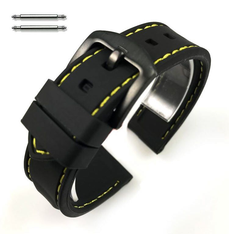 Nautica Compatible Black Rubber Silicone Replacement Watch Band Strap Yellow Stitching Steel Buckle #4007