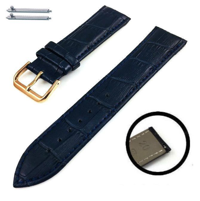Nautica Compatible Blue Croco Leather Replacement Watch Band Strap Rose Gold Steel Buckle #1073