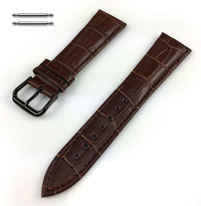 Nautica Compatible Brown Croco Genuine Leather Replacement Watch Band Strap Black PVD Steel Buckle #1052