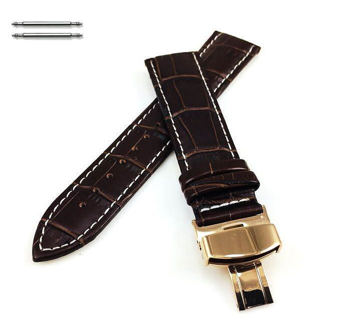 Nautica Compatible Brown Croco Leather Watch Band Strap Rose Gold Butterfly Buckle White Stitching #1038