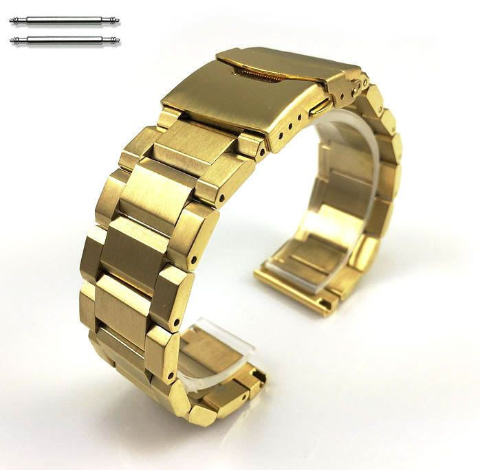 Nautica Compatible Gold Stainless Steel Metal Bracelet Watch Band Strap Double Locking Clasp #5000G