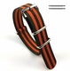 Nautica Compatible Orange & Olive Green Stripes One Piece Slip Through Nylon Watch Band Strap #6F14