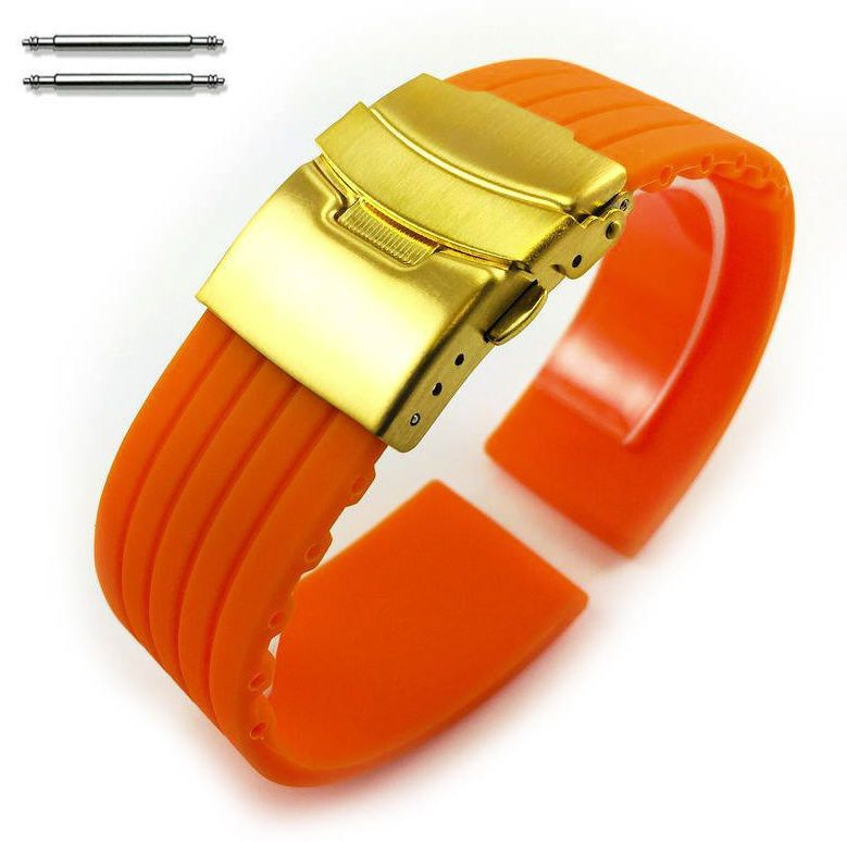 Nautica Compatible Orange Rubber Silicone Replacement Watch Band Strap Gold Double Lock Buckle #4013G