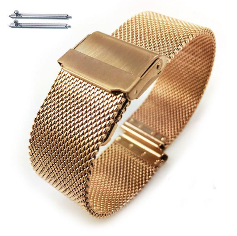 Nautica Compatible Rose Gold Steel Metal Adjustable Mesh Bracelet Watch Band Strap Double Locking #5028