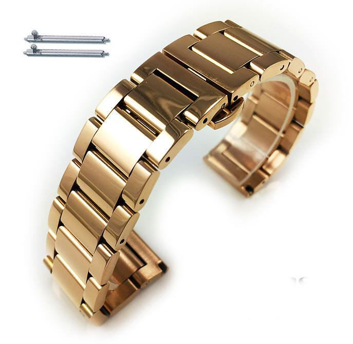 Nautica Compatible Rose Gold Steel Metal Bracelet Replacement Watch Band Strap Push Butterfly Clasp #5013