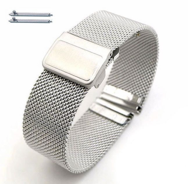 Nautica Compatible Stainless Steel Metal Adjustable Mesh Bracelet Replacement Watch Band Strap #5021