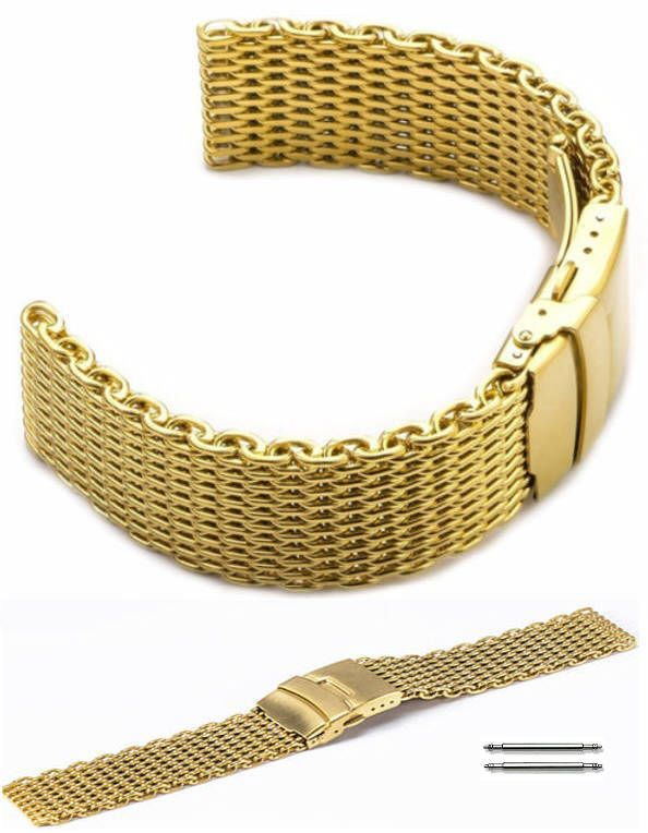 Nautica Compatible Stainless Steel Metal Shark Mesh Bracelet Watch Band Strap Double Locking Gold #5031