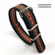 Orange Gray & Black Stripes One Piece Slip Through Nylon Watch Band Strap #6F18