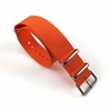 Orange One Piece Slip Through Nylon 20mm Watch Band Strap Silver Buckle #6003