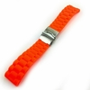 Timex Compatible Orange Rubber Silicone Replacement Watch Band Strap Double Locking Buckle #4094