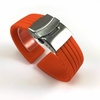 Orange Rubber Silicone Replacement Watch Band Strap Double Locking Steel Buckle #4013
