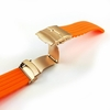 Tissot Compatible Orange Rubber Silicone Watch Band Strap Rose Gold Double Locking Clasp #4013RG