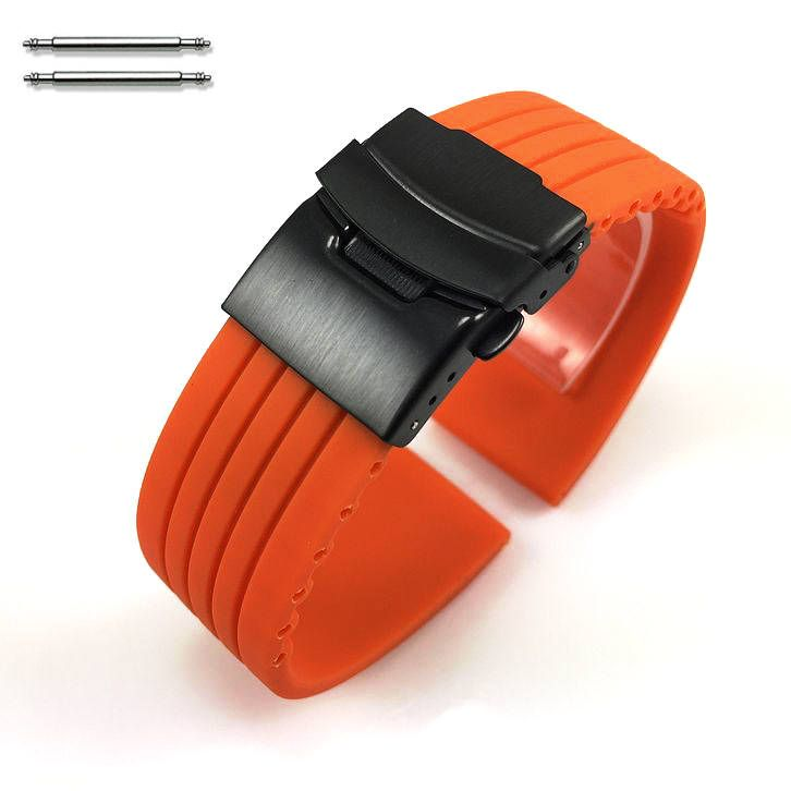 Orange Silicone 18mm Watch Band Strap Double Locking Black PVD Steel Buckle #4014