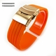 Orange Silicone 20mm Watch Band Strap Rose Gold Double Locking Clasp #4013RG