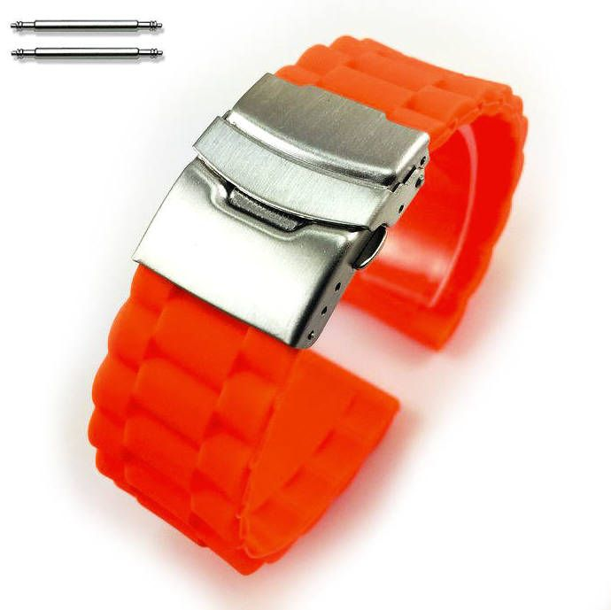 Orange Silicone Replacement 18mm Watch Band Strap Double Locking Buckle #4094