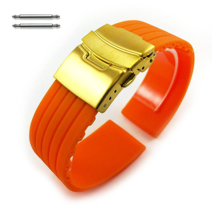Orange Silicone Replacement 18mm Watch Band Strap Gold Double Lock Buckle #4013G