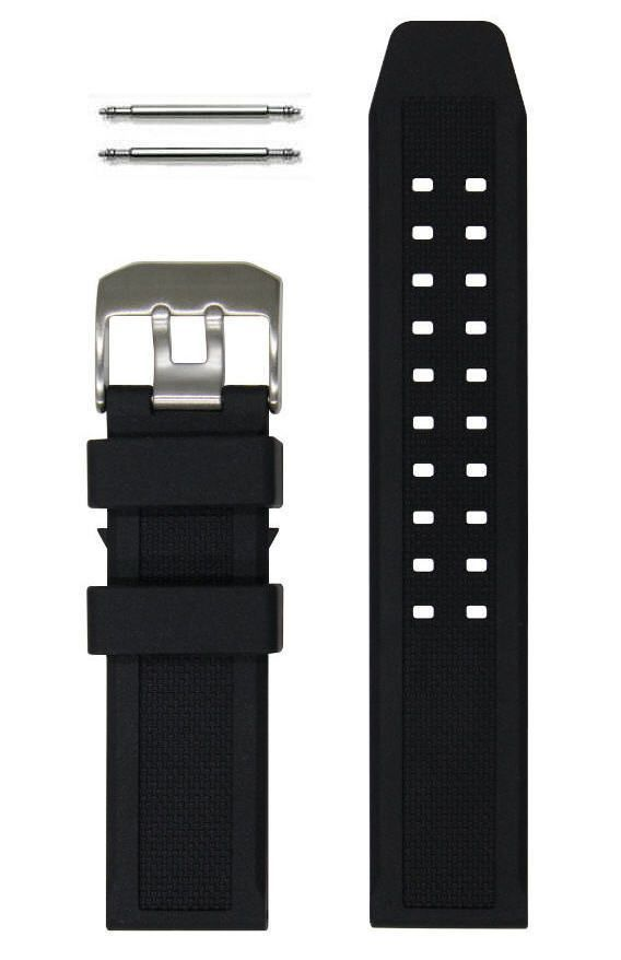 Pebble Time Classic Round 23mm Black Rubber Silicone Replacement Watch Band Strap PVD Steel Buckle #4001