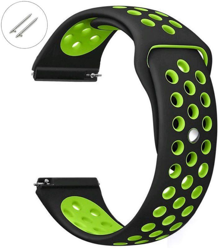 Pebble Time Classic Round Black & Green Sport Silicone Replacement Watch Band Strap Quick Release Pins #4073