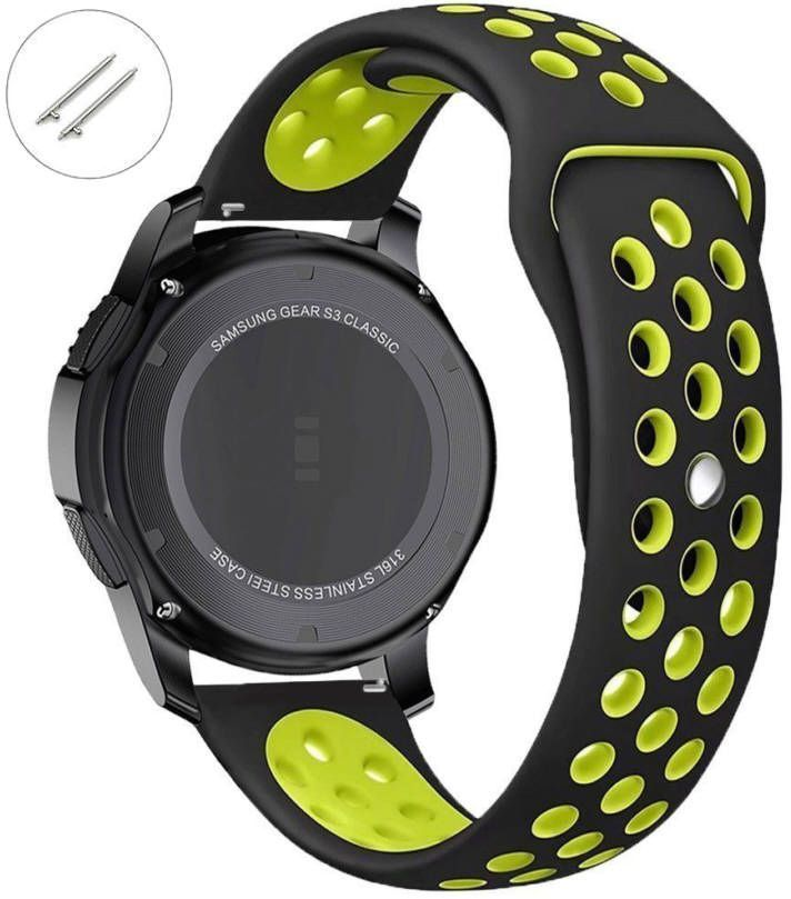 Pebble Time Classic Round Black & Green Sport Silicone Replacement Watch Band Strap Quick Release Pins #4074