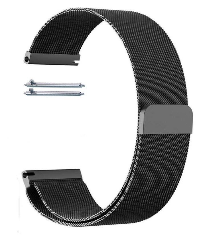 Pebble Time Classic Round Black Magnetic Clasp Steel Metal Mesh Milanese Bracelet Watch Band Strap #5042