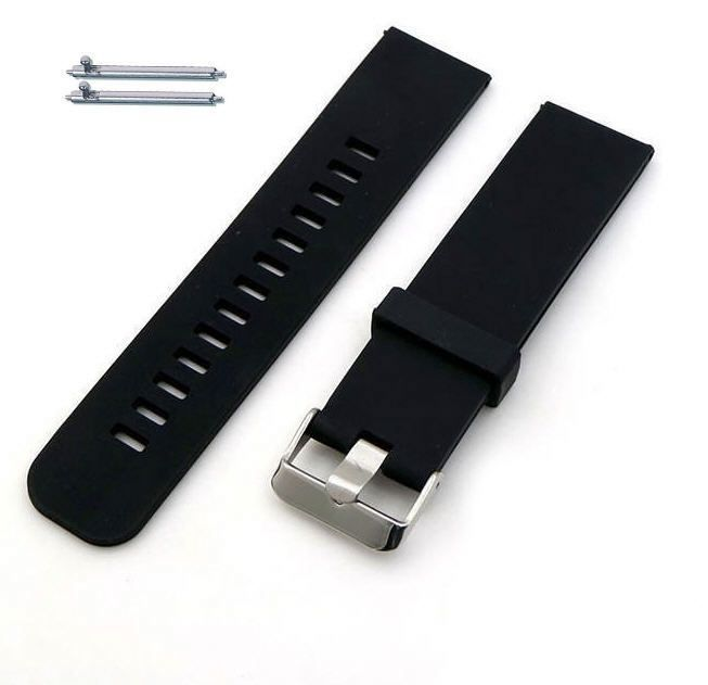 Pebble Time Classic Round Black Silicone Rubber Replacement Watch Band Strap Wide Style Metal Steel Buckle #4021