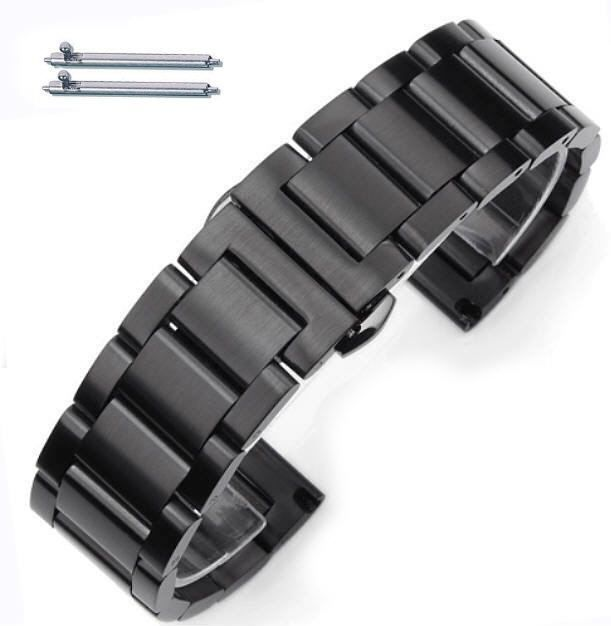 Pebble Time Classic Round Black Stainless Steel Brushed Replacement Watch Band Strap Butterfly Clasp #5072