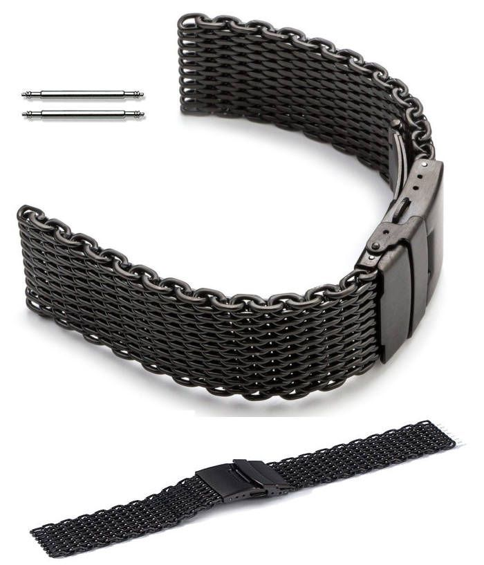 Pebble Time Classic Round Black Stainless Steel Metal Shark Mesh Bracelet Watch Band Strap Double Locking #5032