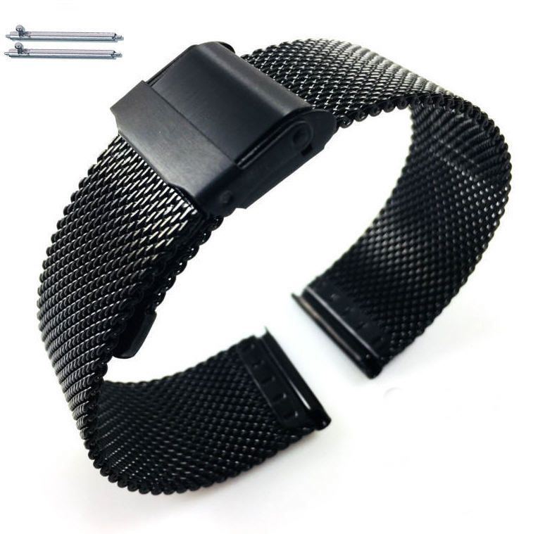 Pebble Time Classic Round Black Steel Metal Adjustable Mesh Bracelet Watch Band Strap Double Lock Clasp #5026