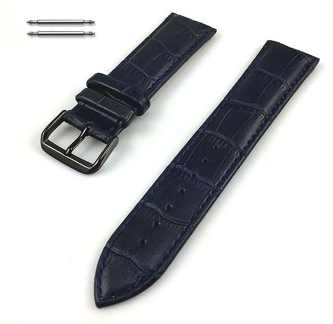 Pebble Time Classic Round Blue Croco Leather Replacement Watch Band Strap Black PVD Steel Buckle #1053