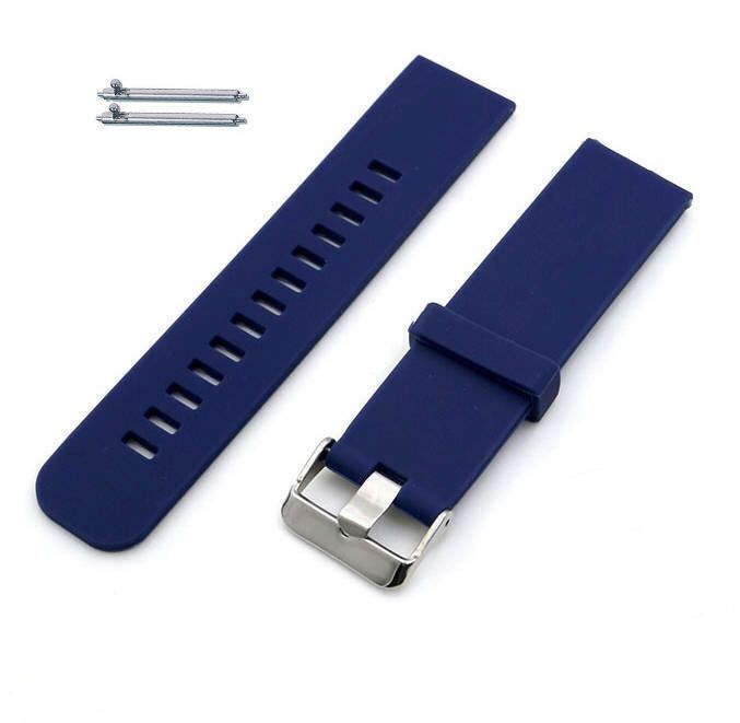 Pebble Time Classic Round Blue Silicone Rubber Replacement Watch Band Strap Wide Style Metal Steel Buckle #4022