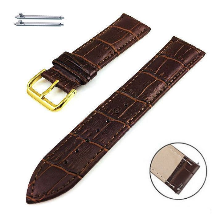 Pebble Time Classic Round Brown Croco Leather Replacement Watch Band Strap Gold Steel Buckle #1082