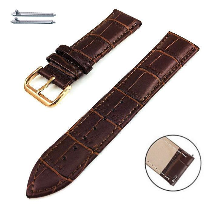 Pebble Time Classic Round Brown Croco Leather Replacement Watch Band Strap Rose Gold Steel Buckle #1072