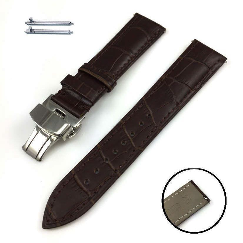 Pebble Time Classic Round Brown Croco Leather Replacement Watch Band Strap Steel Butterfly Buckle #1032