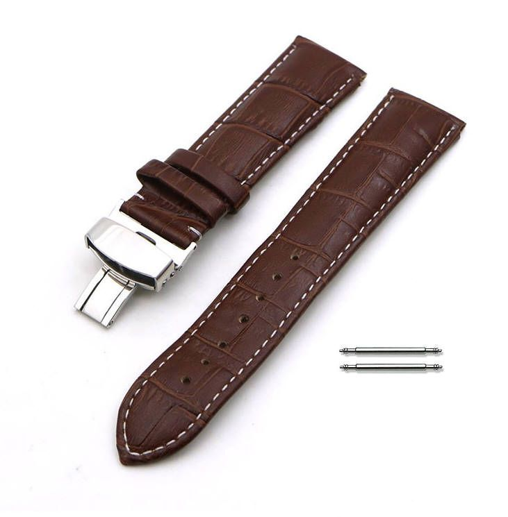 Pebble Time Classic Round Brown Croco Leather Watch Band Strap Steel Butterfly Buckle White Stitching #1035
