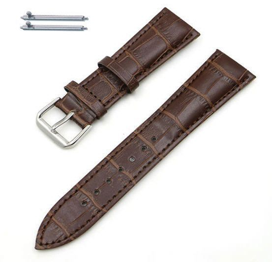 Pebble Time Classic Round Brown Elegant Croco Leather Replacement Watch Band Strap Steel Buckle #1042