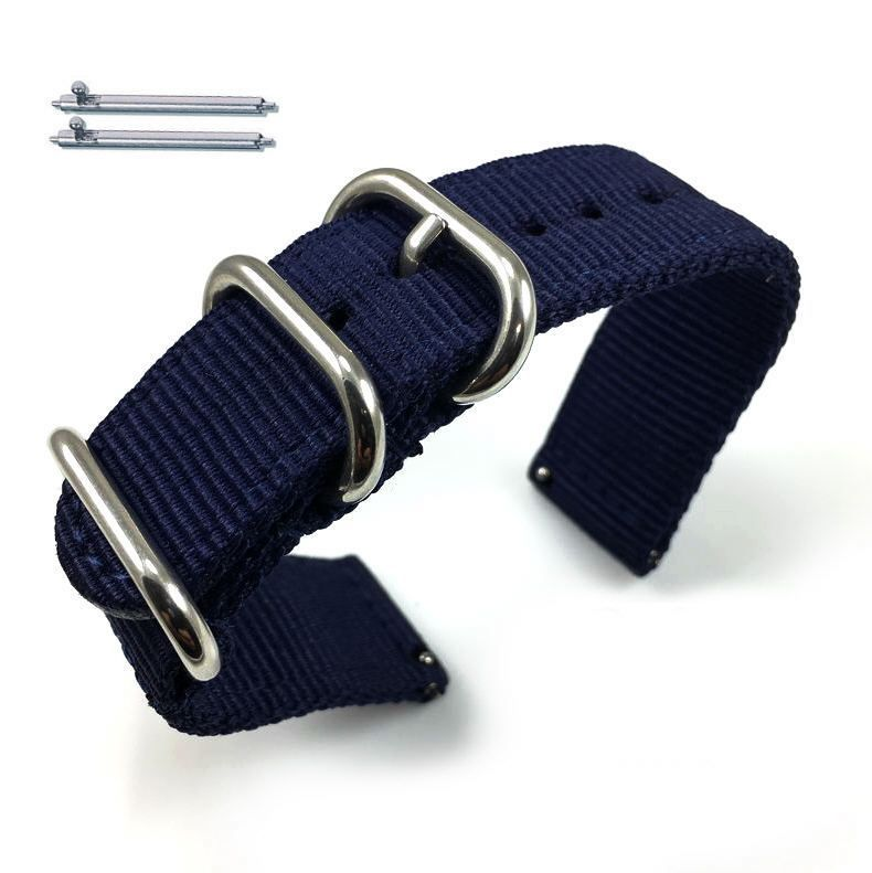 Pebble Time Classic Round Dark Blue Nylon Watch Band Strap Belt Army Military Ballistic Silver Buckle #6035