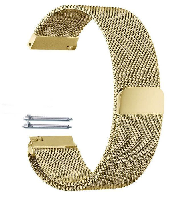 Pebble Time Classic Round Gold Tone Magnetic Clasp Steel Metal Mesh Milanese Bracelet Watch Band Strap #5043