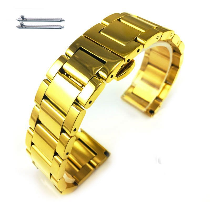 Pebble Time Classic Round Gold Tone Steel Metal Bracelet Replacement Watch Band Strap Push Butterfly Clasp #5012
