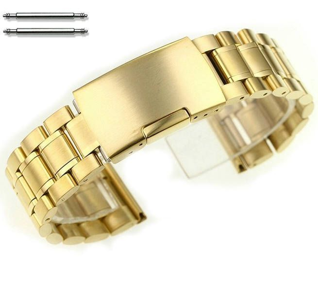 Pebble Time Classic Round Gold Tone Steel Metal Bracelet Replacement Watch Band Strap Push Button Clasp #5017