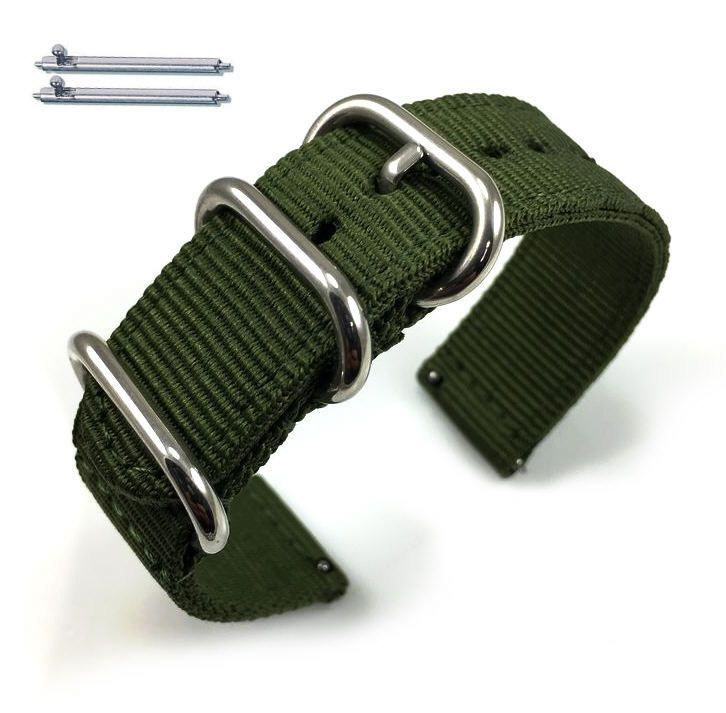 Pebble Time Classic Round Green Nylon Watch Band Strap Belt Army Military Ballistic Silver Buckle #6033